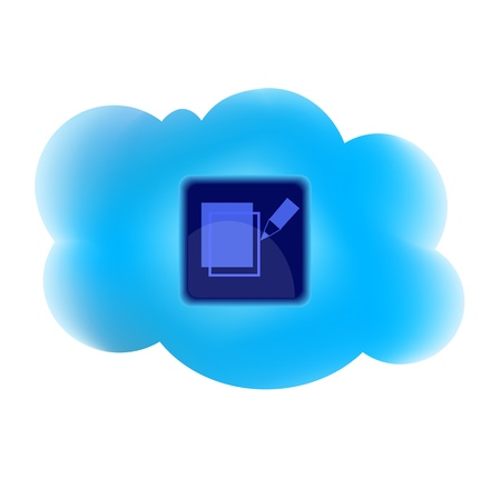 clouding: Clouding technology computing concept with write icon