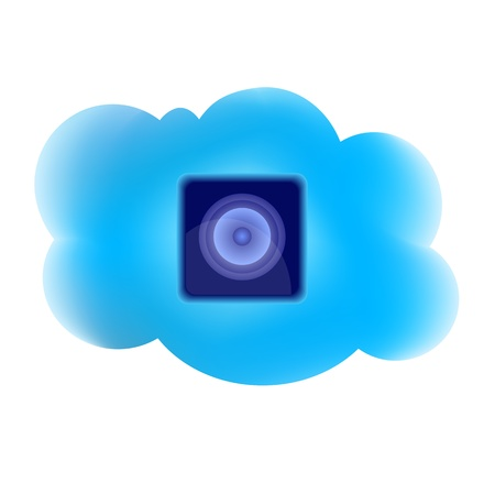 clouding: Clouding technology computing concept with loudspeaker icon