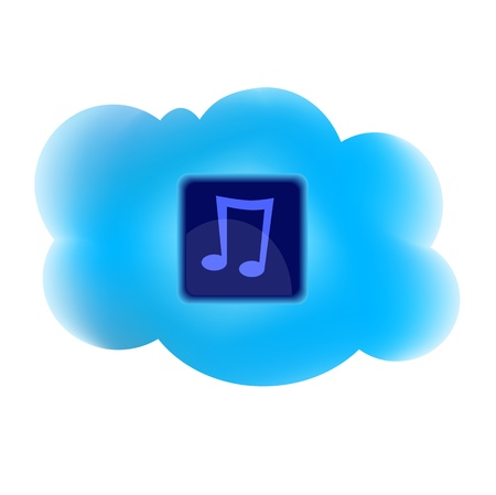 clouding: Clouding technology computing concept with note icon