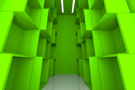 Abstract Box with Green Empty Room for Shelves   photo