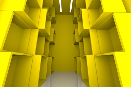 Abstract Box with Yellow Empty Room for Shelves   photo