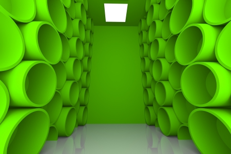 Abstract Sphere with Green Empty Room for Shelves Stock Photo - 17987921