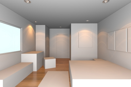 Mock-up for minimalist bedroom with white wall and tile floor  Ideal for ineterior design background Stock Photo - 17987899