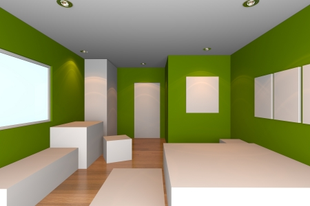 Mock-up for minimalist bedroom with green wall and tile floor  Ideal for ineterior design background    photo