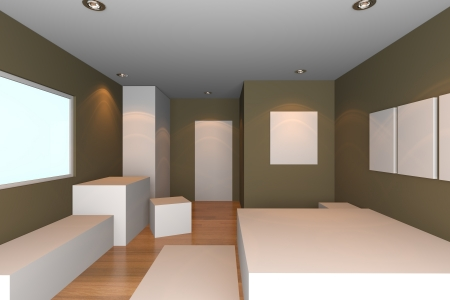 Mock-up for minimalist bedroom with brown wall and tile floor  Ideal for ineterior design background    Stock Photo - 17987896