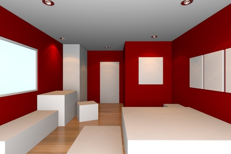 Mock-up for minimalist bedroom with red wall and tile floor  Ideal for ineterior design background    photo