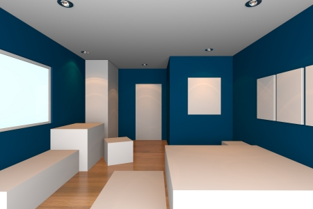 Mock-up for minimalist bedroom with blue wall and tile floor  Ideal for ineter design background    Stock Photo - 17987895