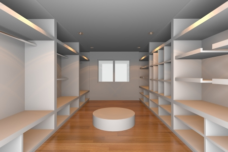 walk in closet: Mock-up for minimalist walk-in closet with white wall and tile floor  Ideal for ineterior design background