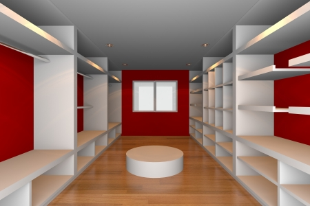 Mock-up for minimalist walk-in closet with red wall and tile floor  Ideal for ineterior design background    photo