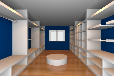 Mock-up for minimalist walk-in closet with blue wall and wood floor  Ideal for ineterior design background    Stock Photo - 18214708