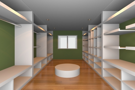 walk in closet: Mock-up for minimalist walk-in closet with green wall and wood floor  Ideal for ineterior design background