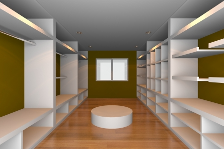 Mock-up for minimalist walk-in closet with brown wall and wood floor  Ideal for ineter design background    Stock Photo - 18214709