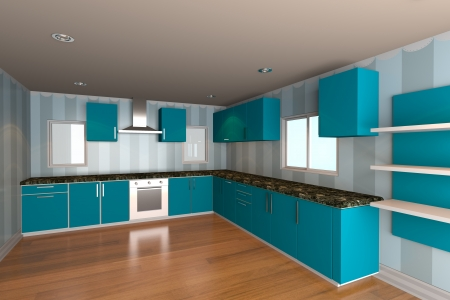 Mock-up for minimalist kitchen room with blue wallpaper and wood floor  Ideal for ineterior design background    photo