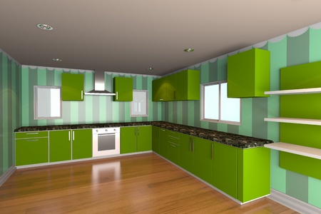 Mock-up for minimalist kitchen room with green wallpaper and wood floor  Ideal for ineterior design background    photo