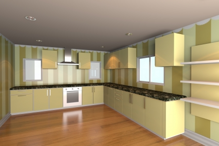 Mock-up for minimalist kitchen room with yellow wallpaper and wood floor  Ideal for ineterior design background    photo