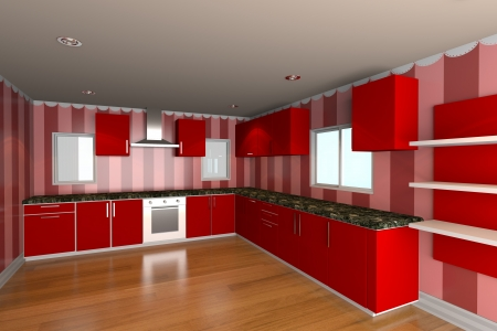 Mock-up for minimalist kitchen room with red wallpaper and wood floor  Ideal for ineterior design background    photo