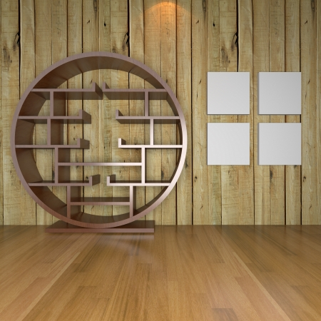 Contemporary minimalist empty living room with wood wall and wood floor for bookshelf inter background Stock Photo - 18306790
