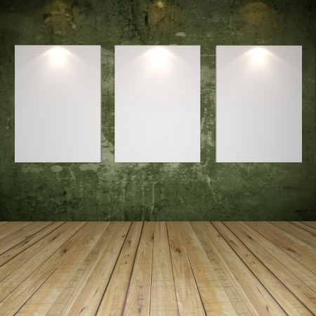 Empty room interior with white canvas on green grunge texture wall in the gallery