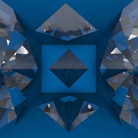 lambent: Blue empty room with diamond  Ideal for abstract background  Stock Photo