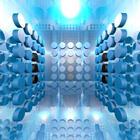 Abstract Blue Digital Interior Room Background
