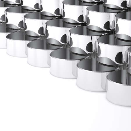 Abstract chrome cylinder on white background, ideal for business and industrial background  photo