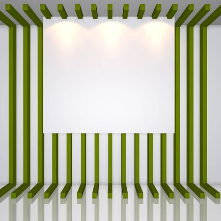 exposition: Gallery Interior with empty frames on green line decorate wall