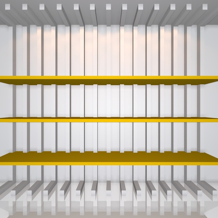 3D Yellow Shelves And Shelf For Wrap Advertising On A White Line ...
