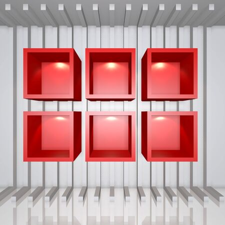 3D red shelves and shelf for wrap advertising on a white line decorate wall in room photo