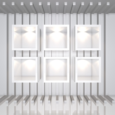 3D white shelves and shelf for wrap advertising on a white line decorate wall in room photo