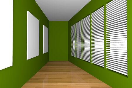 Green Empty Room With White Frame Decorate Wood Floor photo