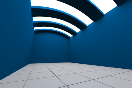 Colorful Blue Empty Room Interior Decorating Curve Ceiling with Tile Floor photo