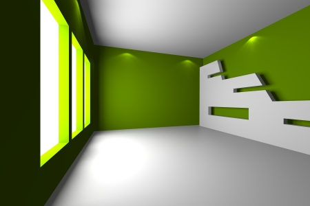 Home inter rendering with empty room color wall and decorated  Stock Photo - 20202451