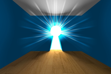 empty keyhole: Empty interior blue room a keyhole shaped door with light  Stock Photo