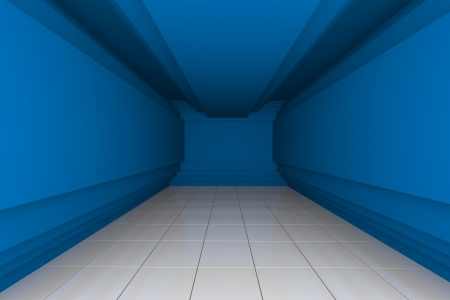 Blue Empty Room with Step Wall and White Tile Floor photo