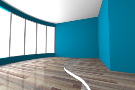 Blue curve space empty room for interior design present of living room and meeting room photo