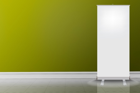 Empty green wall and white tile floor with roll up Stock Photo - 20684862