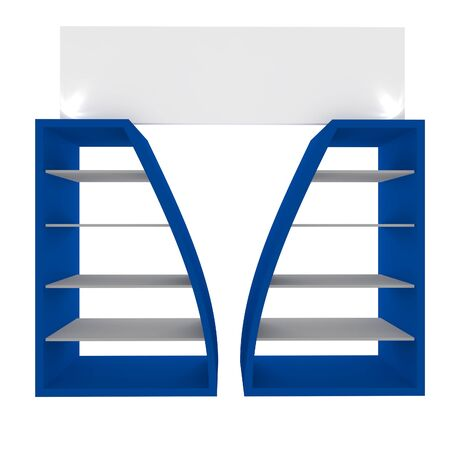 Empty blue shelves with curved design for Ad Stock Photo - 20986034