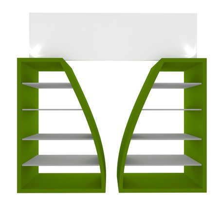 Empty green shelves with curved design for Ad Stock Photo - 20986022