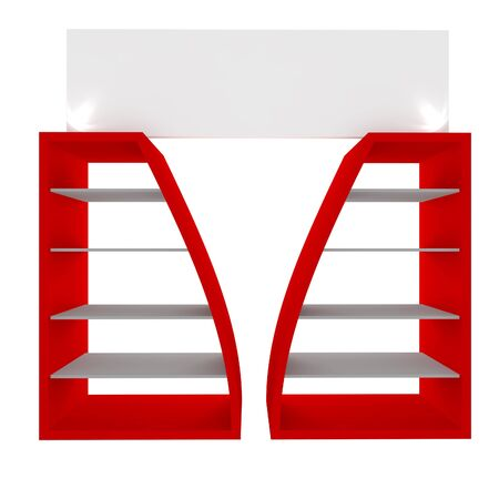 Empty red shelves with curved design for Ad Stock Photo - 20986027