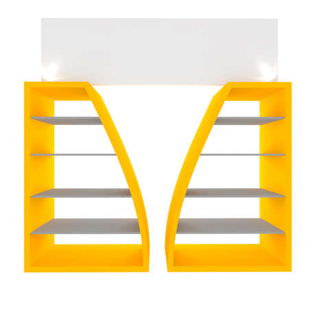 Empty yellow shelves with curved design for Ad Stock Photo - 20986030
