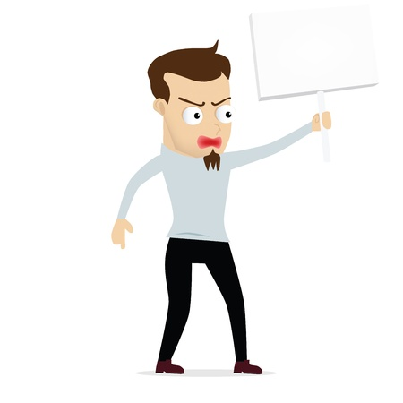 Young businessman cartoon protest held, use in dialogs with other characters. Vector