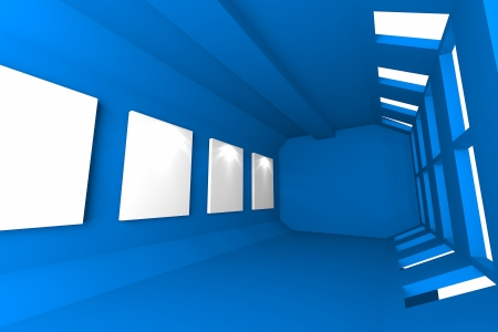 Gallery Abstract Interior with empty frames on blue wall photo