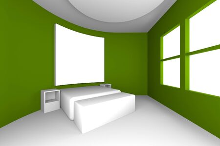 Mock up for bedroom with curve green wall, interior design photo