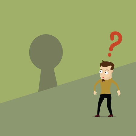 key hole: Man question the key hole. Concept idea