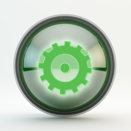Settings Green Glass Button with light reflection and Chromed ring photo