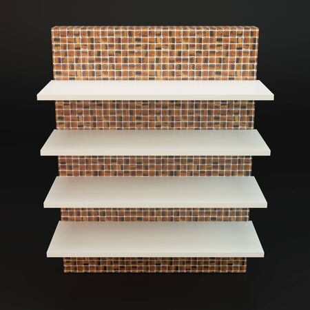Mosaic tile bookcase with four shelves isolated on Black photo