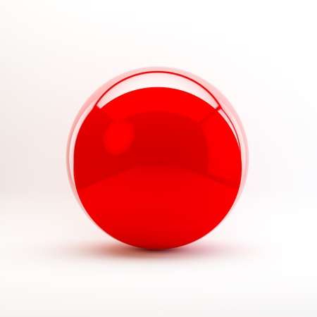 Red sphere isolated on white background photo