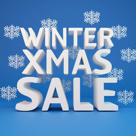 Winter xmas sale with snowflake photo