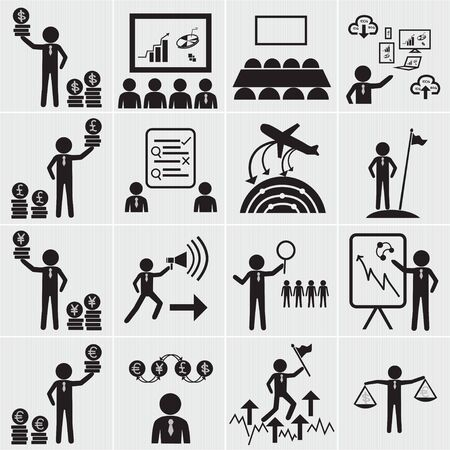 dealing: Human resource, business and management icon set,Vector