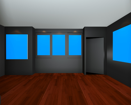 entertainment background: Empty room interior art gallery with blue chromakey canvas frame on black wall , 3d art gallery, animation, banner, clean space, presentation